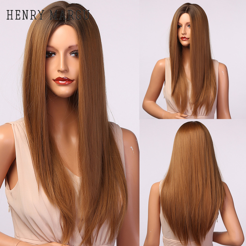 HENRY MARGU Long Straight Synthetic Hair Wigs Ombre Brown Dark Root Middle Part Wigs for Women Heat Resistant Daily Party Wigs
