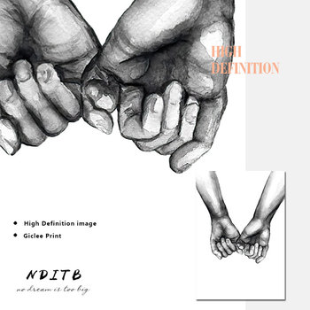 Romantische Hand In Hand Canvas Schilderij Zwart Wit Wall Art Poster Print Nordic Mode Foto Koppels Liefhebbers Kamer Decoratie 5