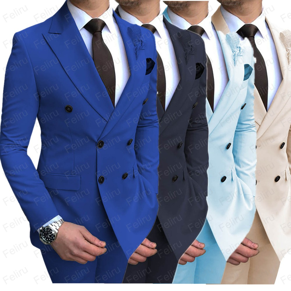 Double Breasted Mens Suit For Wedding Groom Groomsmen Tuxedos Men Formal Prom Office Party Slim Blazer Suit (Jacket+Pants)