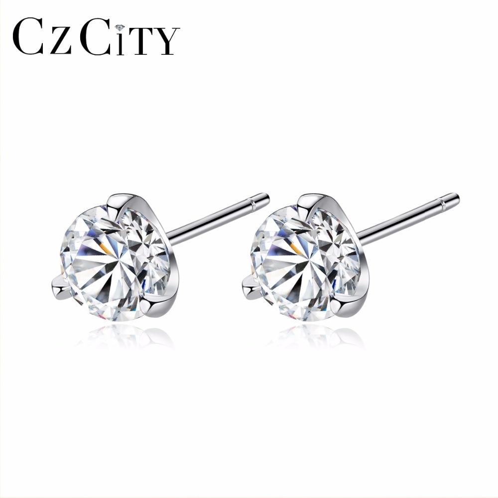 CZCITY Clear CZ Stud Earrings Simple Three Claws Size 3mm/ 4mm/ 5mm/ 6mm 925 Sterling Silver Women Earrings Jewelry Daily Wear