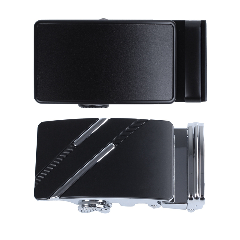 2pcs Men's Solid Buckle Automatic Ratchet Leather Belt Buckle With Twill - Black +Silver & Black