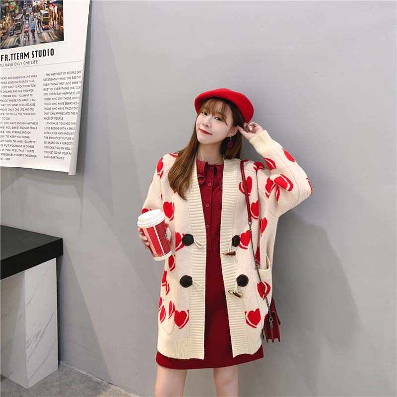 Korean Autumn Winter Women Plus Size Love-Hearts Printed Knitted Cardigan Sweater Lazy Wind Loose Female Coat V-neck Knitwear