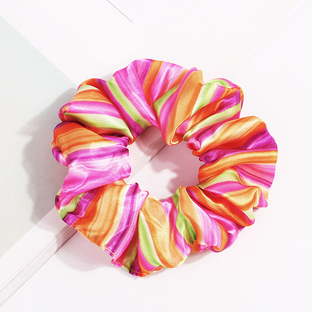 1Pc Leopard Rainbow Color Scrunchie Elastic Hair Ties Skin-Friendly Summer Hair Accessories Hair Bands For Women Girls Hot Sale