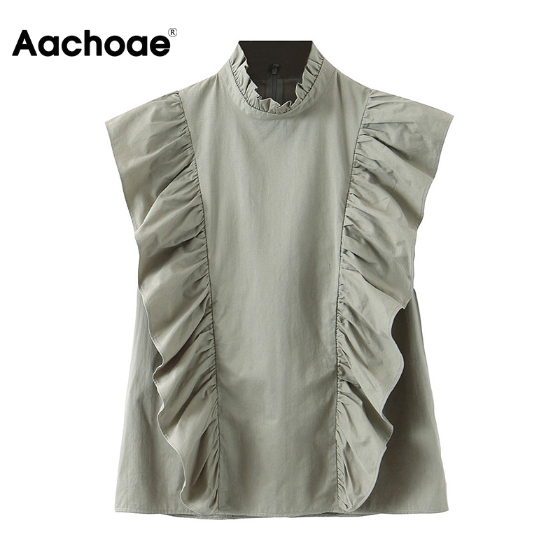 Aachoae Solid Ruffled Cotton Blouse Women Elegant Sleeveless Shirt Tunic 2020 Ladies Office Casual Blouses Tops Blusas Mujer