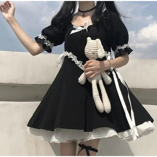 Japanese Summer Kawaii Soft Girly Dress Vintage Square Collar Cute Lace Lace Up Bow Sweety Ruffles Puff Sleeve Dress Black Dress 2