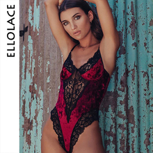 цена на Ellolace Sexy Lace Velvet Bodysuit Women Fitness Bodycon Bodys Sleeveless Lace Overalls Burgundy 2019 New Autumn Elegant Rompers