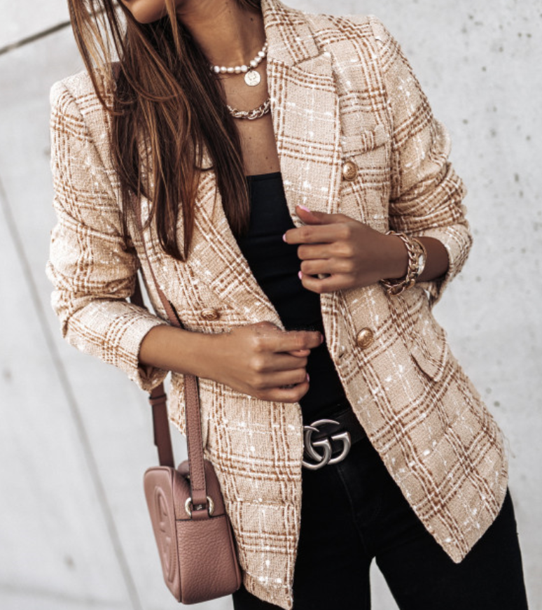Women Fashion Double Breasted Check Tweed Blazers Coat Vintage Long Sleeve With Buttons Female Outerwear Tops