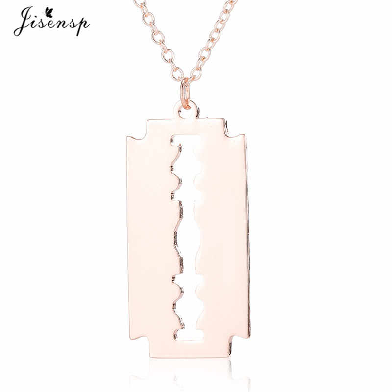 Jisensp w stylu Punk amulet ze stali nierdzewnej naszyjnik dla kobiet mężczyzn unikalna konstrukcja ostrze Chokers naszyjnik Geometric shape biżuteria prezent