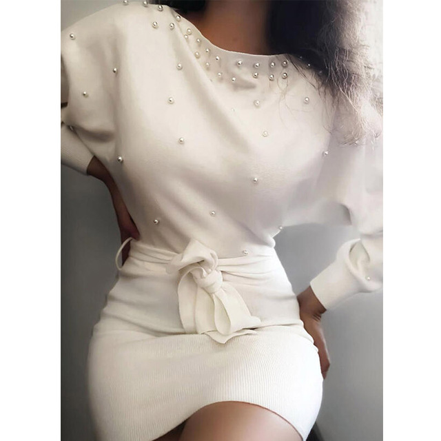 Spring Elegant Beading Party Dress Casual Long Sleeve Lace-Up Belt Bodycon Dresses Women Solid Vintage O-Neck Slim Autumn Dress 2