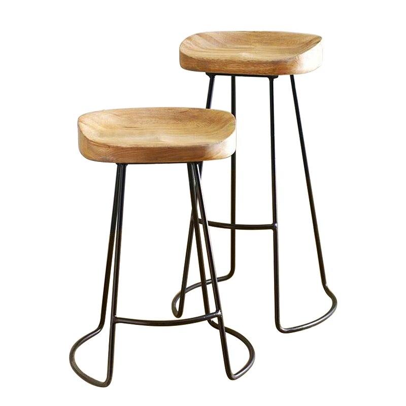 Modern Minimalist Bar Stool Solid Wood European Home  Creative Coffee Casual Dining  Nordic Wrought Iron High Chair