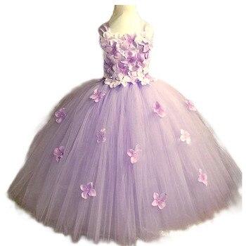 цена на Hydrangea Flower Tutu Dress for Girls Elegant Baby Girl Dress Flowers Girls Ankle Length Wedding Birthday Party Dress Ball Gown