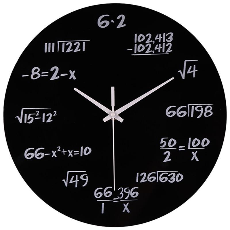 Large Wall Clock Mathematics Silent Math Equations Polytechnic Digital Wall Clock