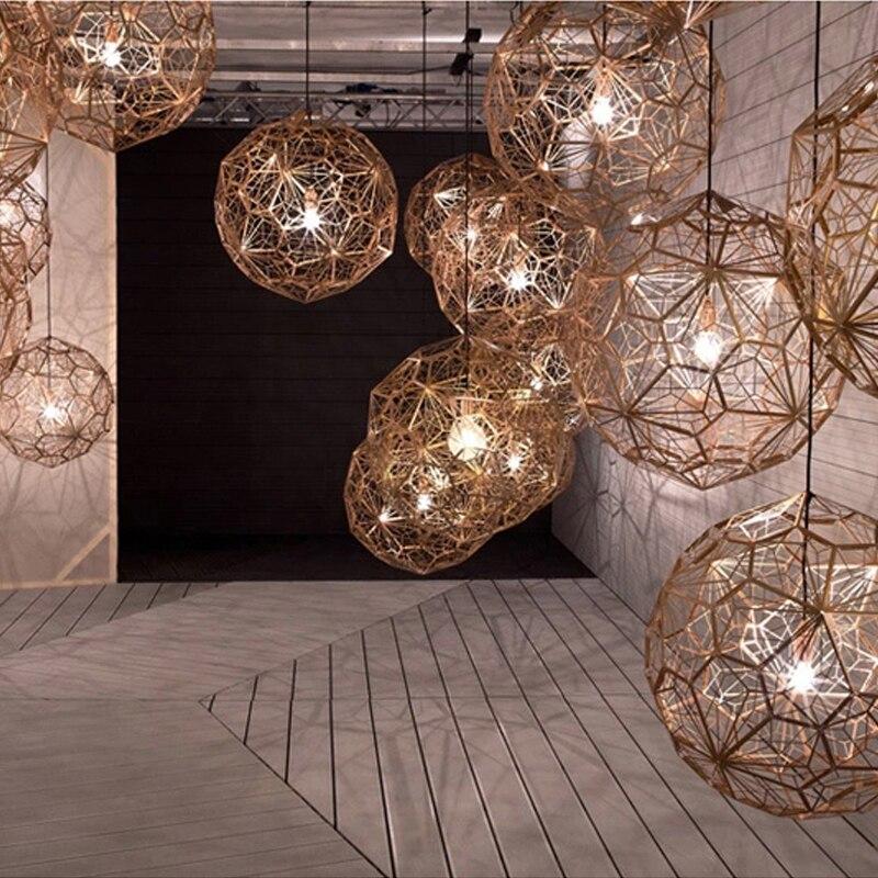 Stainless Steel Rose Gold Pendant Lighting Silver Etch Web Pendant Lights Art Pendant Lamps For Living Room Hanglamp Fixtures
