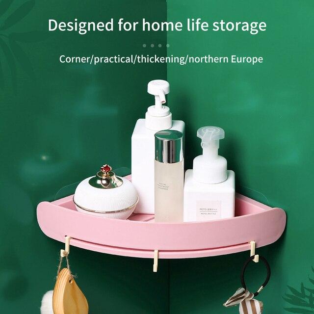 Plastic Bathroom Shelf Organizer Snap Up Corner Shelf Caddy Bathroom  Corner Shelf Shower Storage Wall Holder Shampoo Holder 5