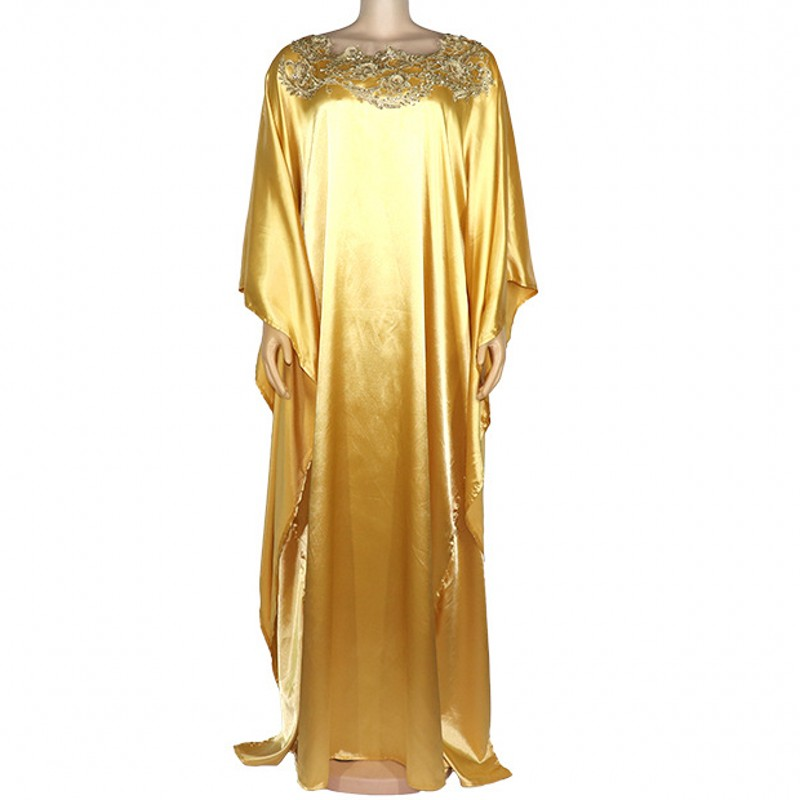 African Dress For Women 2020 Fashion Golden Long Maxi Dress Plus Size Free Size Maxi Dress Long Robe Africaine Vetsidos
