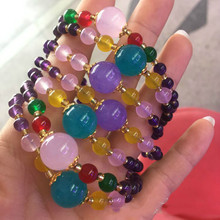 Natural amethyst DIY bracelet Tianhe stone powder crystal womens single circle fashionjewelry wholesale