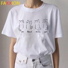 2020 Kawaii Cat Funny Cartoon T Shirt Women Ullzang Casual T-shirt Cute 90s Printed Tshirt Fashion