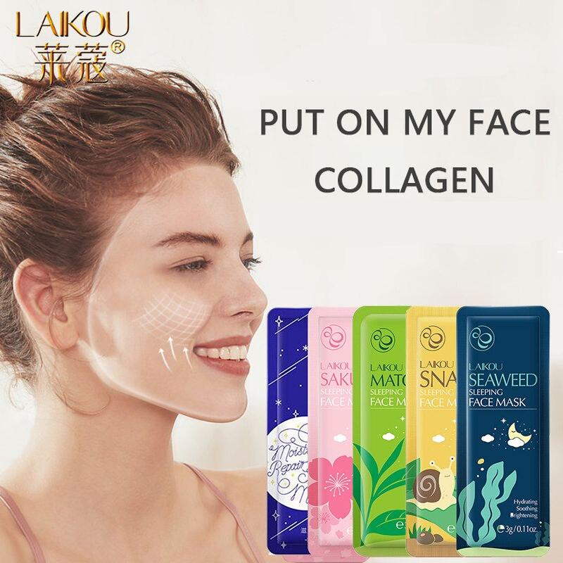 LAIKOU mascarilla facial hidratante de Caracol Sakura mascarilla en crema para dormir antiarrugas hidratante cuidado de