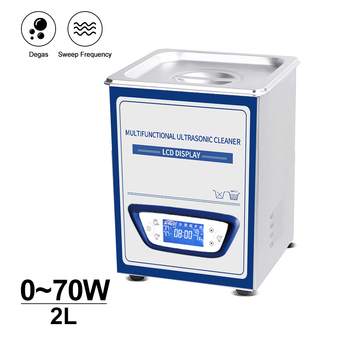 2L Household Ultrasonic Cleaner Bath Mute Time Heat Adjustable Sweep Frequency Degassing Coin Lab Metal oil Rust Degreaser degas