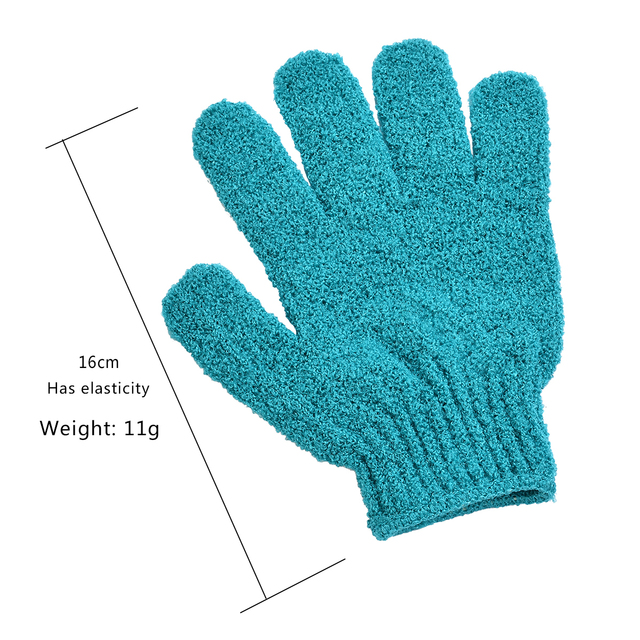 2 PCS Exfoliating Gloves Mitt Bath Shower Scrub Tan Dead Skin Removal Exfoliator Elastic Five-Finger Bath Gloves Random Color 5
