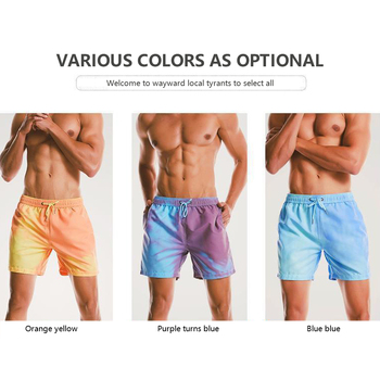 Magiczne spotkanie zmiana koloru spodnie plażowe kąpielówki męskie strój kąpielowy szybkie suche szorty kąpielowe letnie spodnie do surfingu nowość tanie i dobre opinie COTTON CN (pochodzenie) Stałe FIGI Dobrze pasuje do rozmiaru wybierz swój normalny rozmiar do pływania