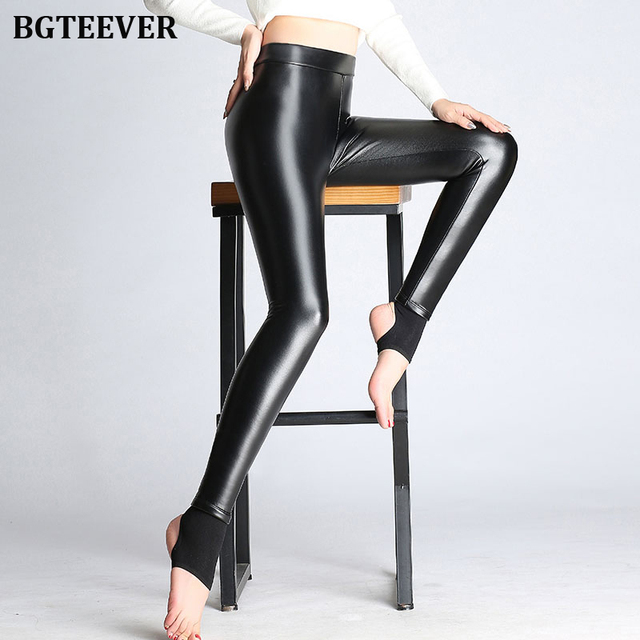 BGTEEVER Spring Autumn Winter Soft PU Leather Pant Women Velvet Pants Warm Stretch Skinny Trousers Pencil Leather Leggings 31