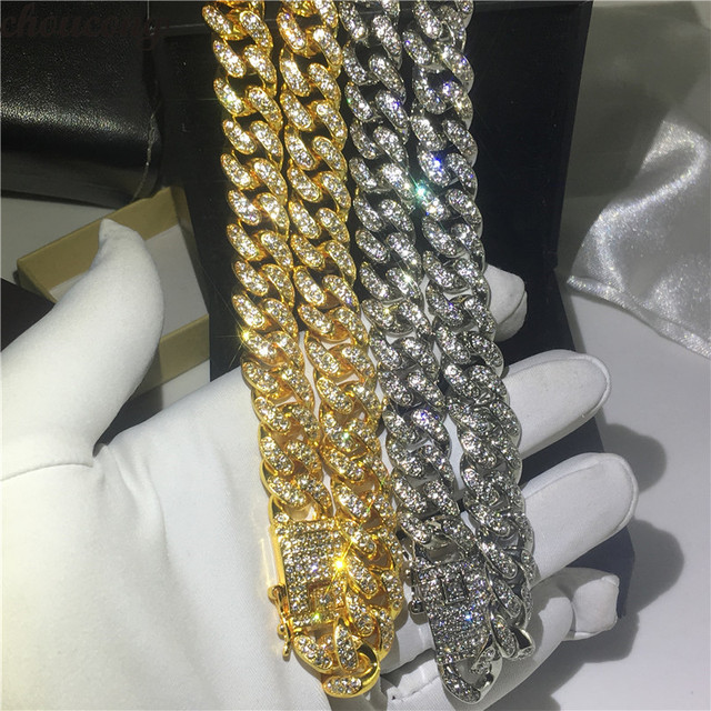 Handmade Male Iced Out Crystal cz Necklace 12.5mm Heavy Miami Cuban Link Chain Hiphop Gold Color Fashion Party Jewelry For Men