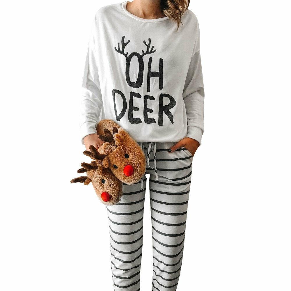 New Womens Long Sleeve T-Shirt Sleep Tops 2019 Christmas Casual Clothes Elk Print Tees Indoor Lounge Soild Pajamas Tops Loose