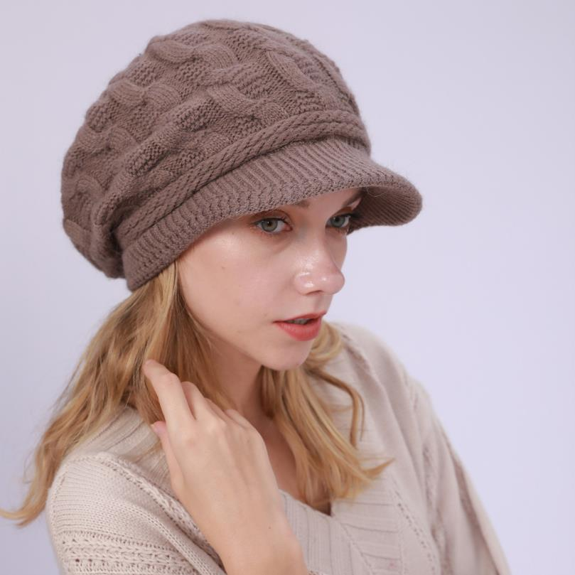 Winter Women Rabbit Fur Knitted Hats Casual Solid Color Autumn girls Warm thich Hat Female Bonnet Caps Boina Feminino