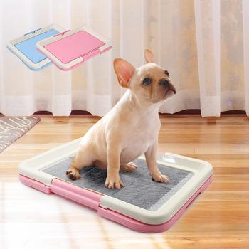 Przenośne szkolenia psów nocnik szczeniak miot kuweta Pad Mat dla psów koty łatwe do czyszczenia produkt dla zwierząt kryty tanie i dobre opinie Miot Pudełka dog toilet Blue Pink 47*34cm