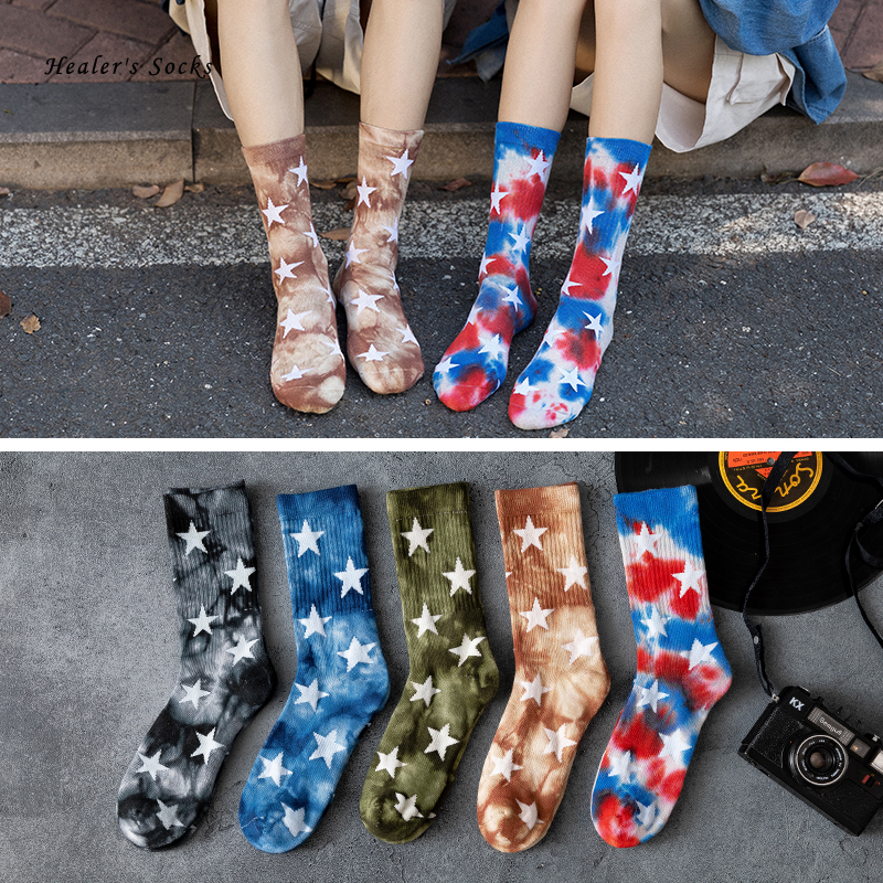 New Fashion Couples Men and Women Socks Cotton Colorful Star Tie-dye Harajuku Happy Funny Cute HipHop Skateboard Weed Tube Socks