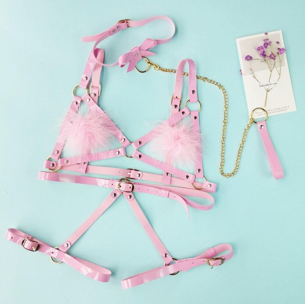 paloli Lolita Handmade Harajuku Leather Elastic Garter Belts with Handcuffs Harness