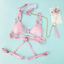 Cosplay Lolita Kawaii Handmade Sexy Harajuku Leather Elastic Garter Belts Waist Garters handcuffs Harness for Dress Costume BDSM