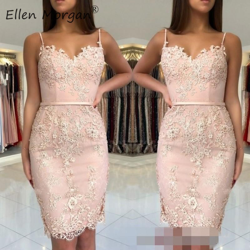 Sexy Straps Sheath Cocktails Dresses Knee Length Elegant 2019 Lace Applique Sleeveless Beaded Zipper Special Occasion Gown Women