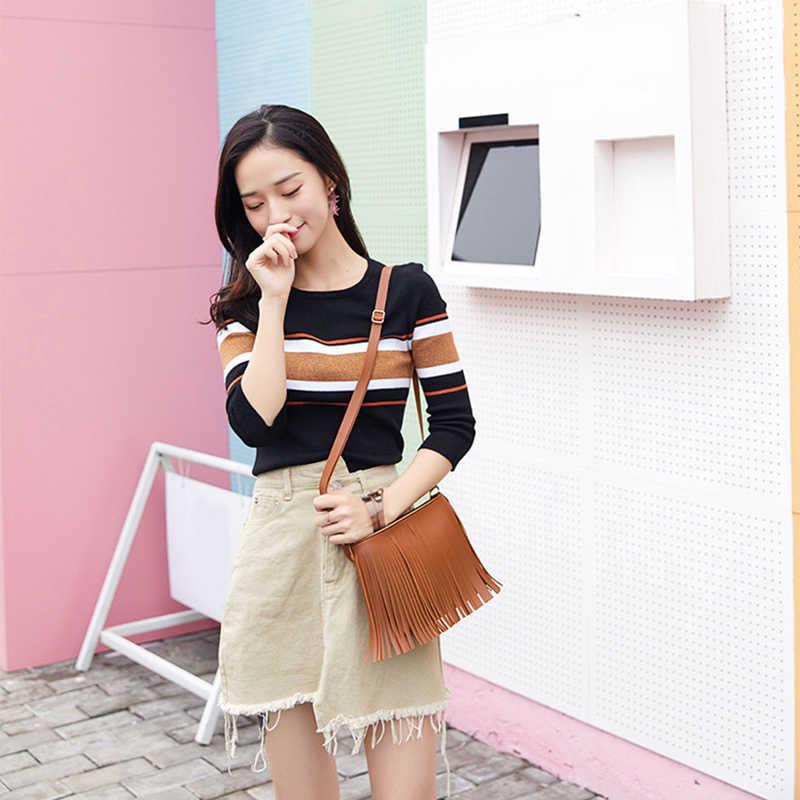 Sıcak satış rahat kadın omuz çantası moda kadın omuz çantaları yeni moda püskül bayanlar için cep telefonu çantası