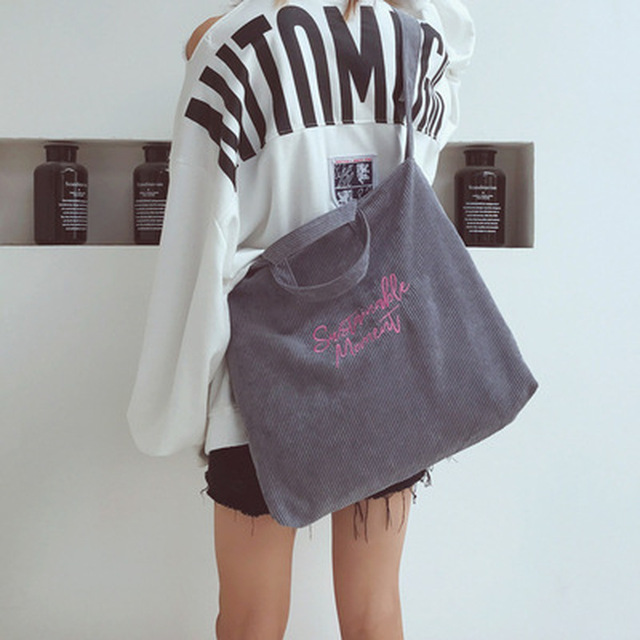 Women Corduroy Shoulder & Crossbody Bags Female Eco Cloth Handbag Large Capacity Zipper Totes Soft Embroidery Messenger Bag 5