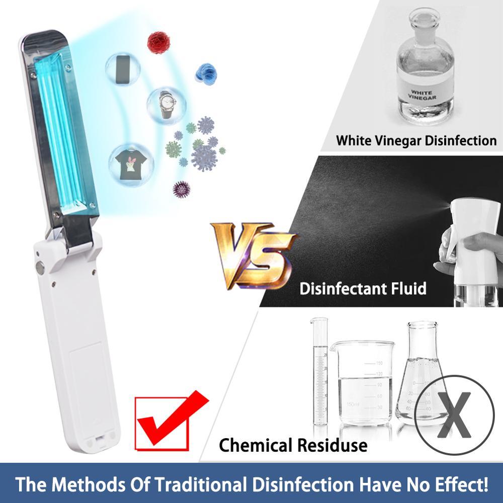 Ultraviolet Disinfection Lamp Sterilization Lamp Portable UVC Handheld Folding USB Disinfection Germicidal Flashlight