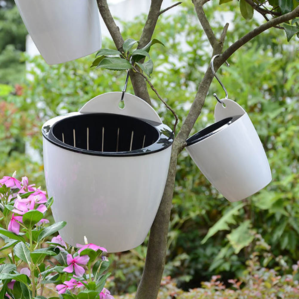Self Watering Flower Pot Wall Hanging Resin Plastic Planter Durable For Garden Balcony SER88