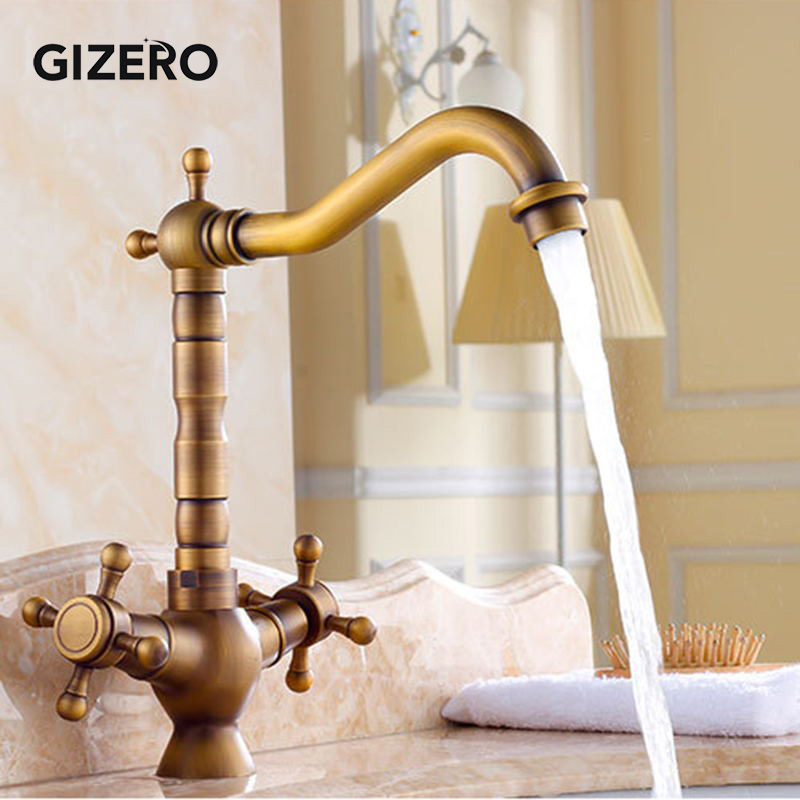 Antique Dual Handle Bathroom Brass Faucet Basin Mixer hot and cold Faucet Swivel Deck Mounted Sink Vanity Faucet torneira ZR111