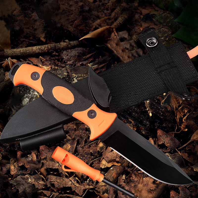 7CR17MOV Outdoor collection knife Wilderness survival self-defense straight folding fishing knife with Sparkler cover Whetstone