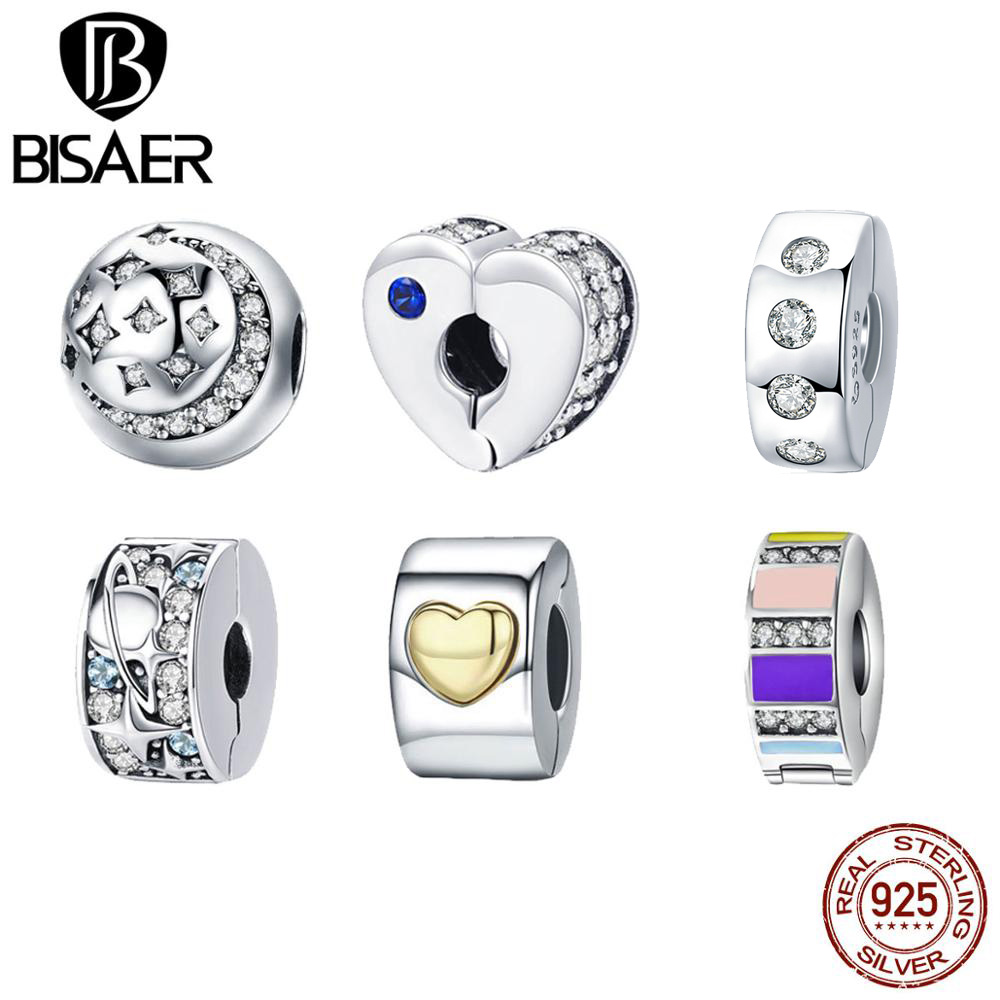 Heart Clip Charm 925 Sterling Silver Spacer Beads fit for Fashion Charms Bracelets Sparkling Clip