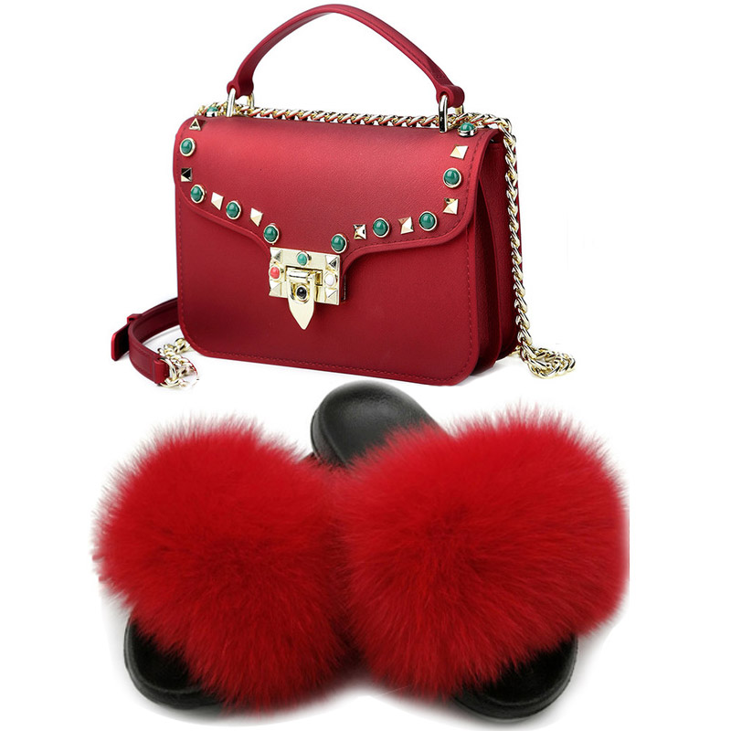 Women Fur Slippers Hot Sale Slippers Summer Shoes 2020 New Women Bag Set Breathable Non-Slip Daily Footwear Autumn