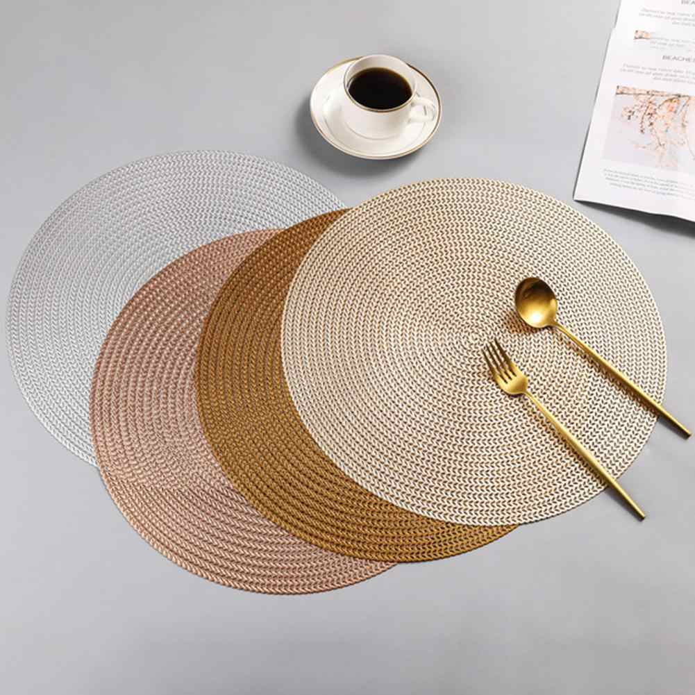 Round Woven Placemats PP Waterproof Dining Table Mat Non Slip Napkin Disc  Bowl Pads Drink Cup Coasters Kitchen Decoration