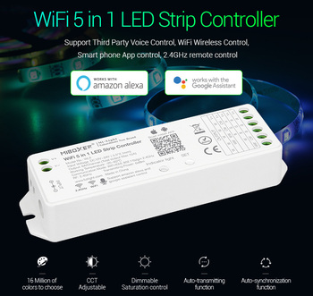 Miboxer WL5 2 4G 5 w 1 sterownik wifi do LED na pojedynczy kolor CCT RGB RGBW RGB + CCT taśmy LED wsparcie amazon alexa sterowanie głosem tanie i dobre opinie MOKUNGIT ROHS Plastic 12-24 v WIFI APP Voice Wire 1 year RGB RGBW RGBWW RGB+CCT Led Strip Light Kontroler RGB 5 IN 1 WIFI LED Controller