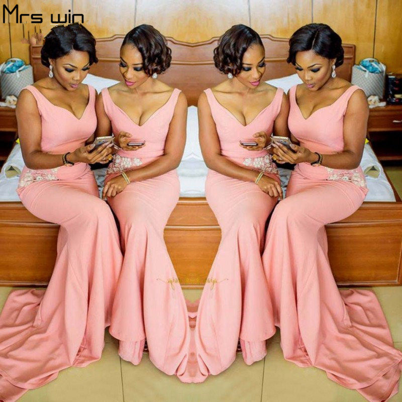 Mrs Win Bridesmaid Dresses Long Pink V-neck Vestido Madrinha Women Plus Size Tank Mermaid Wedding Party Dress Under 50 HR057