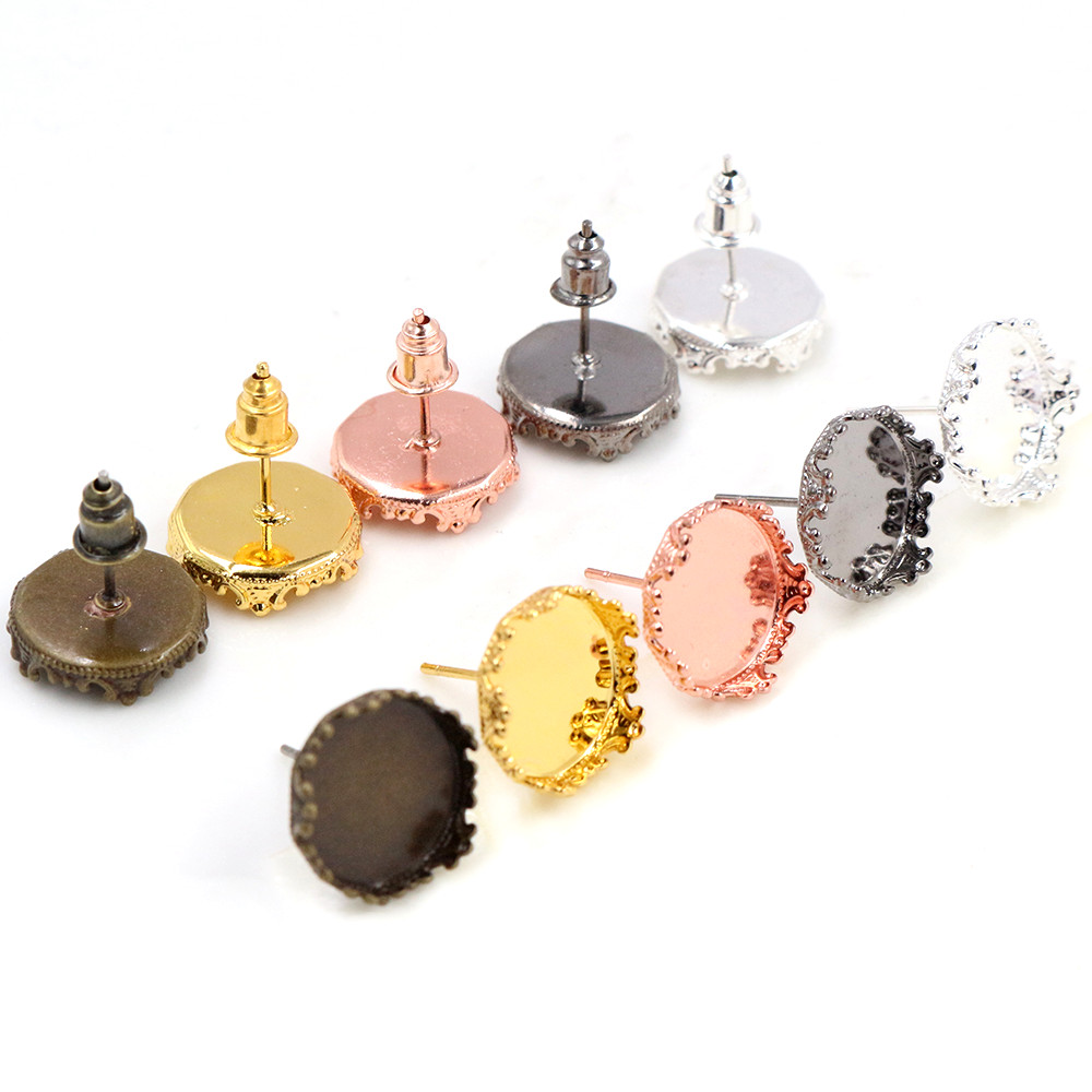 12mm 10pcs/Lot 5 Fashion Colors Plated Earring Studs,Earrings Blank/Base,Fit 12mm Glass Cabochons,Buttons;Earring Bezels