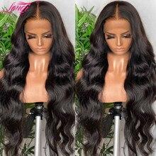 Lanqi – perruque Lace Front Wig Body Wave brésilienne naturelle, cheveux longs, 4x4, 28 30 pouces, pour femmes