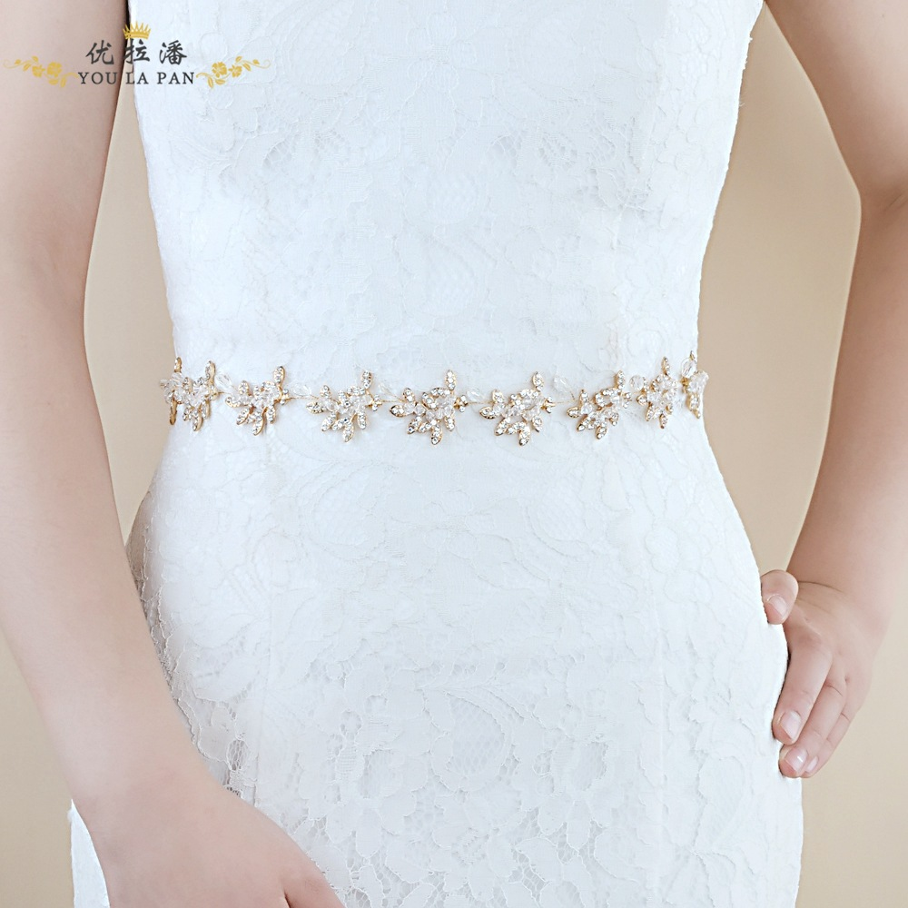 Yo La Pan SH107 Bride Wedding Dress Belt Long Skirts Formal Dress Accessories Luxury Crystal Alloy-Currently Available Hot Sales