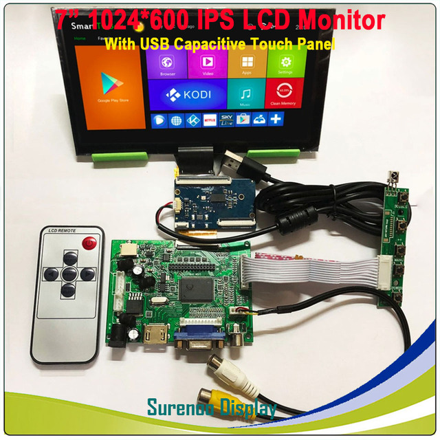 "7"" 1024*600 IPS LCD Module Monitor Display + HDMI/VGA/2AV Board + Capacitive Touch Panel w/ USB Controller for Windows & Android"