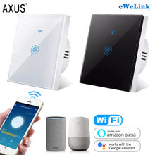 AXUS – interrupteur mural tactile sans fil, wi-fi, 220V, 1 Gang, 1 voie, Standard ue, pour luminaire, Tuya, Alexa, Google Home, ewelink